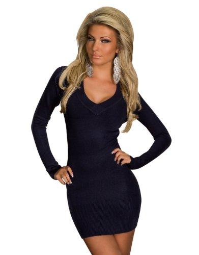 4968 Damen Langarm-Minikleid aus Strick Pullover dress Kleid verfügbar in 2 Größen und in 6 Farben (L/XL 40 42, Dunkelblau)