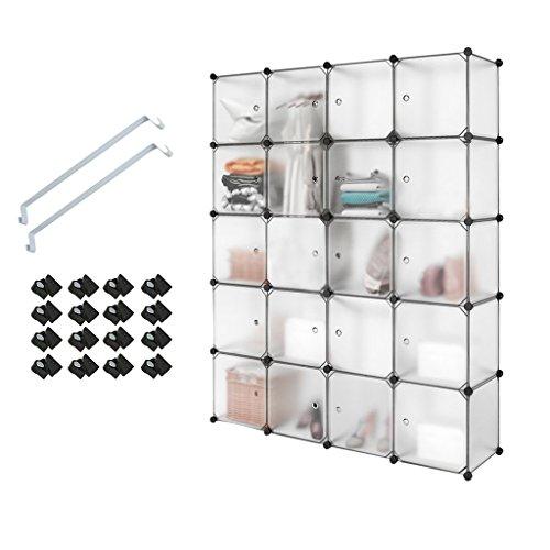 Meerveil 20 Kubus Kunststoff Kleiderschrank Garderobenschrank Steckregal DIY Modular Schrank Regalsystem mit 2 Kleiderstange, für Kleidung Schuhe Spielzeug und Bücher (Halbtransparent Weiß)