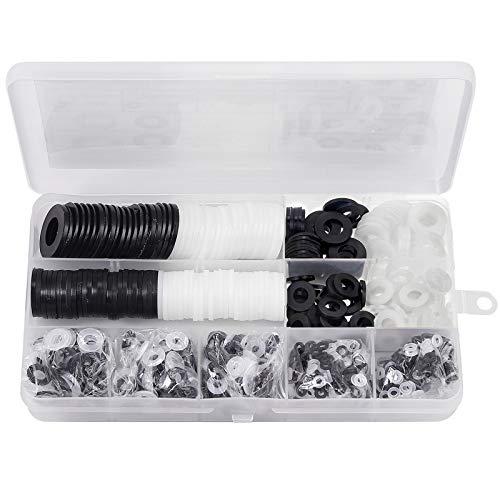 AUTOUTLET 1000 Pieces Nylon Flat Washer Assortment Set 9 Sizes M2 M2.5 M3 M4 M5 M6 M8 M10 M12 Rubber Washer Spacer (Black & White)
