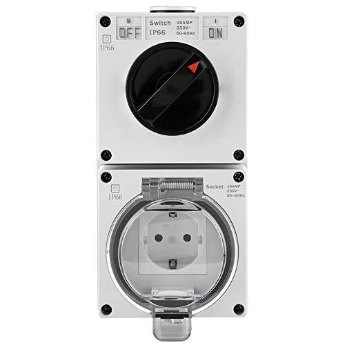 wasserdichte Steckdose Premium IP66 Wandmontage-Steckersockel mit Schalter für Außenbeleuchtung und elektrisches Gerät (DE Steckdose)