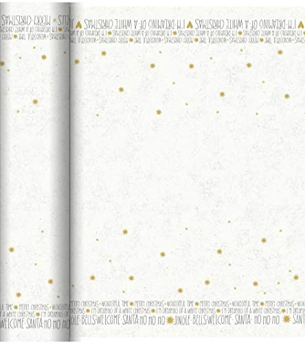 Duni - 180853 - Speelse boodschap Kerstmis Tete a Tete/Tafelkleed - Wit - Dunicel 0,4X24m - 4 stuks (4 pakken van 1)