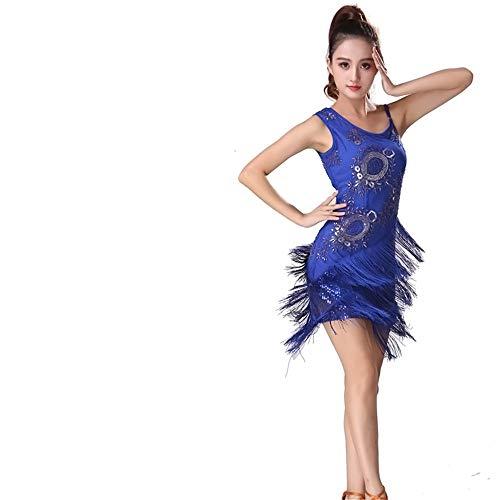 Uiophjkl Latin Dancewear Vrouwen Danskleding Beaded Bloemen Pailletten Fringe Kwastjes Ballroom Samba Tango Latijnse Dans Jurk Competitie Kostuums Swing Rumba Jurk (Kleur: Blauw, Maat : XL)
