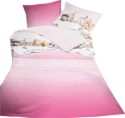 Kaeppel Kinderbettwäsche Set, 2 tlg., Renforce, Pyjamaparty, rosa Gr. 135x200 / 80x80 cm
