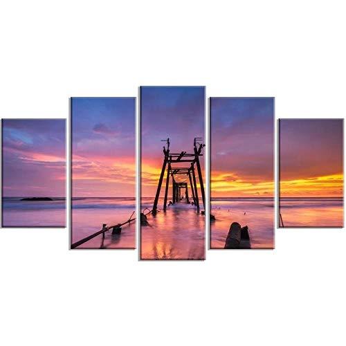 5 Teilige Leinwandbilder 5 STK. Modulares Bild Sonnenuntergang Lila Himmel Leinwanddrucke Malen Wandbrücke Geschenk Kunst Poster Home for Living Room Decoration Frame-150 * 80cm