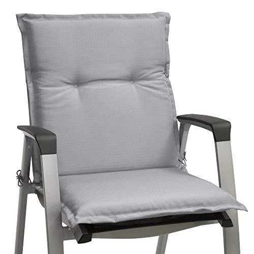 Beautissu cojín para sillas de Exterior, tumbonas, mecedoras o Asientos con Respaldo bajo Base NL 100x50x6 Placas compactas de gomaespuma - Gris Claro