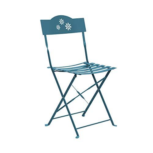 Butlers Daisy Jane Klappstuhl - Blauer Stuhl aus Eisen - für Garten und Balkon - klassischer Retro-Stil