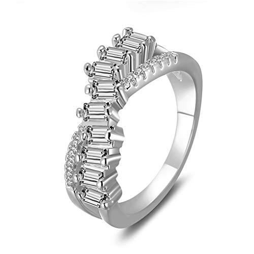 FXNJMDET Damen Mode Quadrat Zirkon Armbrust Titan Stahl Ringe Silber Größe 59 (18.8)