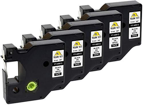 Yellow Yeti 5 Casetes de Cinta D1 40913 S0720680 negro sobre blanco 9mm x 7m Etiquetas compatibles para DYMO LabelManager PnP 160 160P 210D 280 360D 420P 500TS MobileLabeler & LabelWriter 450 Duo