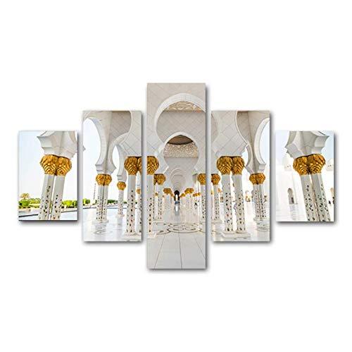Impresiones en lienzo HD Pintura de 5 piezas Arquitectura islámica Cartel Arte de la pared Sala de estar musulmana Cocina Pared Imágenes modulares Decoración de arte M3 200x100 cm