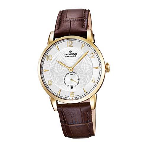 Candino Armband-Uhr Herren C4592/2 Elegant Analog Quarz Leder Uhr braun D2UC4592/2 EIN Geschenk zu Weihnachten, Geburtstag, Valentinstag für den Mann