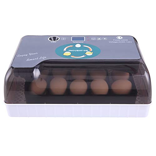 12-Egg Adjustable Egg Tray Practical Fully Automatic Poultry Incubator Set for Chickens, Ducks, Geese, QuailParrot, Pigeons