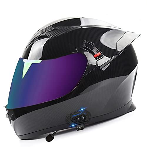 ZLYJ Casco Integral para Motocicleta con Auriculares Bluetooth, Antiniebla, Visera Doble, Abatible hacia Arriba, Casco Modular para Bicicleta De Calle, Aprobado por Dot B,L(58-60cm)