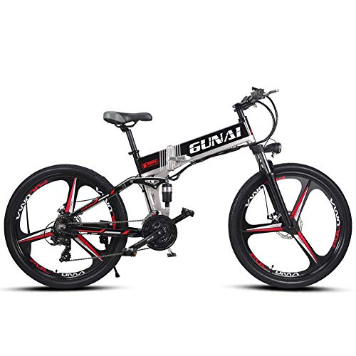 GUNAI Electric Mountain Bike 26 inches Folding E-bike with Rear Seat with Removable Battery 21-speed Transmission System