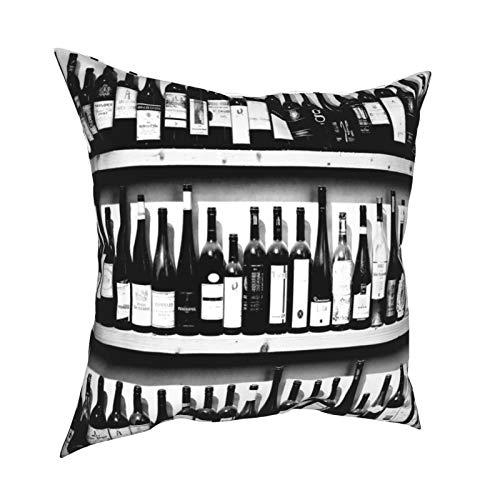 Feamo Funda de cojín, funda de almohada para botellas de vino Yi, cuadrada, decoración del hogar, para sala de estar, dormitorio, sofá, silla, 45,7 x 45,7 cm