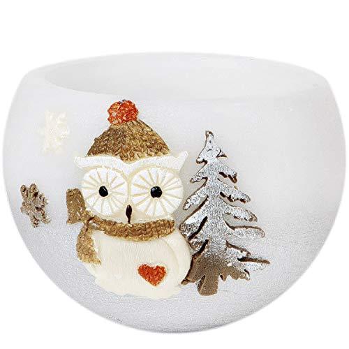 Adpal Kerzenmanufaktur Lampion Rotondo tè Luce 12x 12cm di Natale Candela Gufo Motivo Cappello Argento Bianco Candela