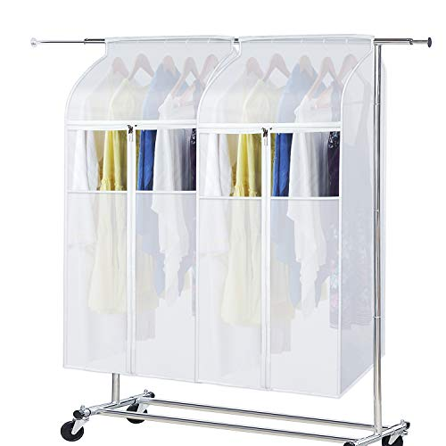 Zilink Large Garment Bags for Storage 43 inch (2 Pack) Dust-Proof Hanging Garment Rack Cover Suit Bags Organizer Hanging Clothes Cover for Suit Coats Jackets Dress Storage