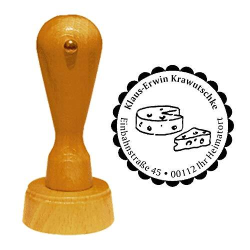 Stempel Adressstempel « KÄSE 01 » Durchmesser ca. Ø 40 mm - mit persönlicher Adresse, Motiv und Zierrand - Käsetheke