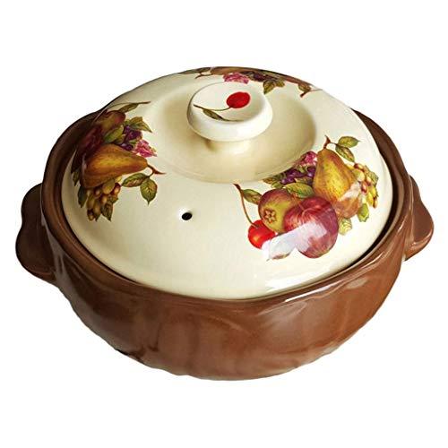 Vintage Ceramic Saucepan Round Lid Soup Pot Rustic Farmhouse Saucepan Delicious Home Stew Pot Harvest Festival 2.0l Floral Print Non-stick Health Casserole