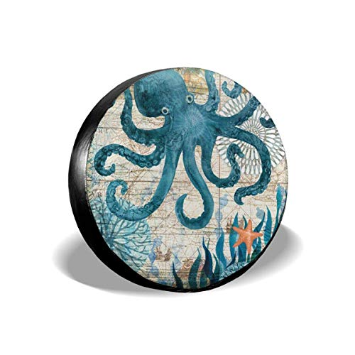 ulxjll Wheel Tire Cover Ocean World Sea Animals Octopus Cubierta Colorida para Llantas De Rueda Durable Resistente A La Intemperie Protectores Universales Impresos Cubren Cubierta De Lla 14in/60~69cm