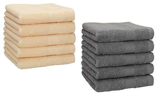 Betz Lot de 10 Serviettes débarbouillettes lavettes Taille 30x30 cm 100% Coton Premium Couleur Beige et Gris Anthracite