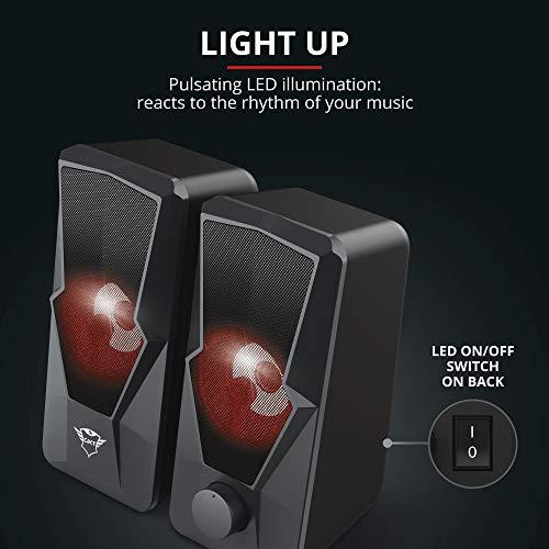 Trust Gaming GXT 610 Argus Beleuchtetes 2.0 USB PC Lautsprecher Set (20 W Spitzenleistung, Pulsierende LED-Beleuchtung, USB-Betrieb) Schwarz