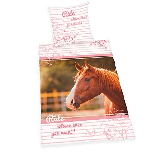 Herding`s Jonge Collectie Paarden Bed Beddengoed, Katoen, Wit, 200 x 135 x 0,2 cm