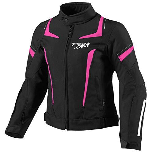 Jet Motorradjacke Damen Mit Protektoren Textil Wasserdicht Winddicht (XS (EU 34-36), Rosa)