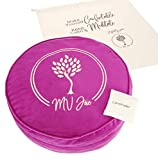 MV Joie Zafu Yoga Meditation Cushion Filled with Buckwheat Hulls & Charcoal Packages | Soft Velvet/Suede Yoga Pillow; Embroidery Design, Free Lavender Pouch & Anti-dust Cotton Bag (Violet Purple,13')