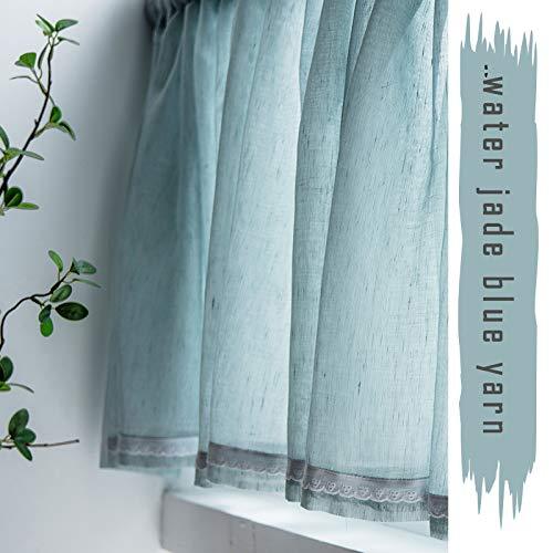 RCYPAA 1 panel, cortinas de voile, bordado floral, borde de encaje, estilo minimalista moderno, cortinas de cocina