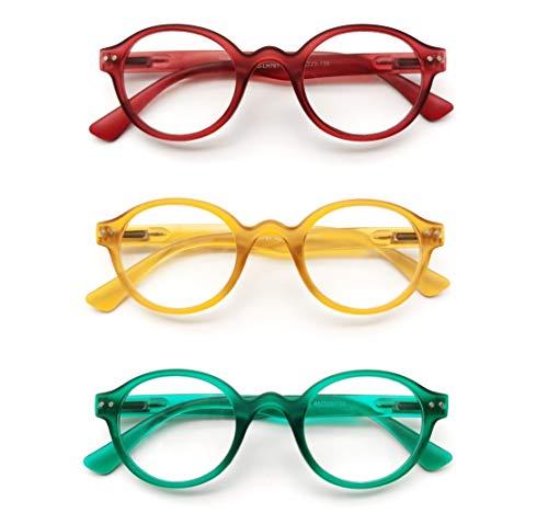 PANTONA-Pack3 Gafas de lectura Gafas Presbicia Gafas Vista Cansada ultra Redondo, deliciosamente Retro y Moderno para Hombre y Mujer.Modelo Mixto y Universal.(Rojo Amarillo Verde+2,50)