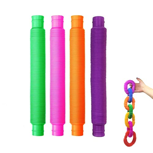 4 Pack Fidget Pop Tube Sensory Toys for Kids and Adults, Fun Multi-Color Bend Stretch Tubes Finger Toy for Relieve Stress Anxiety