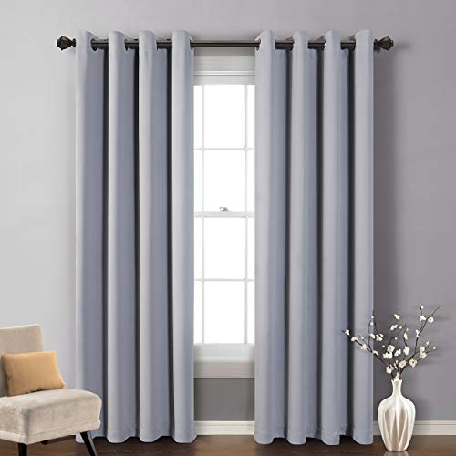 MYSKY HOME Blackout Curtain for Bedroom, Grommet Room Darkening Curtain, Amazing Triple Weave Thermal Insulated Curtain, 1 Curtain Panel ( 52 x 84 Inch, Grey )