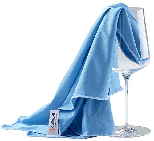 culiclean Paños de Pulido en Azul con borda Azul, Limpia Copas y decantadores de Cristal y Superficies Brillantes – Fabricado en Austria (2 Paños 40 x 60 cm)