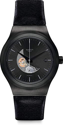 Swatch herenhorloge automatisch horloge met lederen armband YIB404