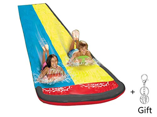 iFlymisi Backyard Water Slide For Kids Adults, Garden Racing Double Water Slides Mat, Inflatable Surfboard, Summer Spray Water Toys, Outdoor Grass Gameb
