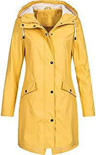 TOOGOO Women Fashion Long Sleeve Hooded Raincoat Windbreaker Hiking Jacket Ladies Casual Solid Color Outdoor Waterproof Trench Coats Tops Yellow S