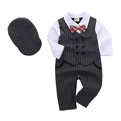 AmzBarley Baby Jungen Bekleidungssets Gentleman Anzuge Kinder Weste Oberhemd Hosen Shirt Outfit Formal Party Geburtstag Sets Grau103 6-12 Monate 80