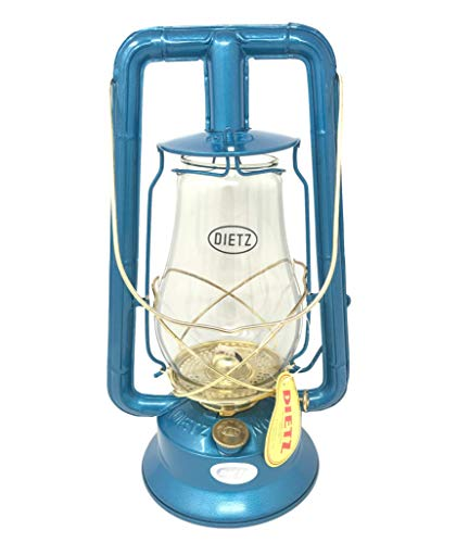 Dietz Monarch #10 Hot Blast Blue and Gold Kerosene Lantern Vintage Style Oil Lamp