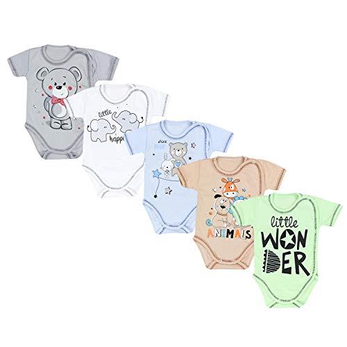 TupTam Unisex Baby Kurzarm Wickelbody mit Spruch 5er Pack, Farbe: Junge 2, Größe: 74