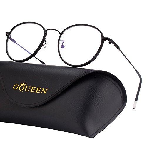 GQUEEN GQUEEN Blaulichtblockierende Computer Brille Gaming Besser Schlafen Antiblend Augenersch?pfung mit Rundem Kreis Metallrahmen Transparente Gl?ser Unisex GQ043