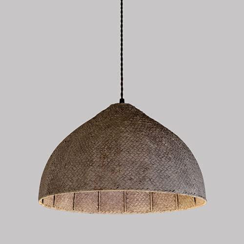 JIANAND Pastoral Grass Rattan Woven Lámpara Colgante E27 Semi-incrustada con línea Ajustable Lámpara Colgante de Techo Luminaria para iluminación de decoración de Patio (D16 Pulgadas)