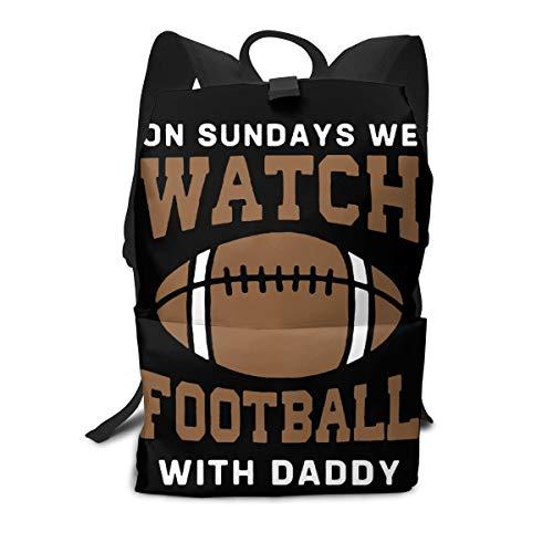 Iop Sac à Dos pour Ordinateur Portable Motif Ballon de Football Inscription on Sundays We Watch, Polyester, Blanc, Taille Unique