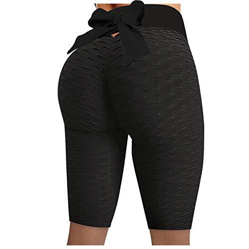KYZRUIER Pantalones cortos de yoga ajustados para mujer, cintura alta, glúteos flacos, levantamiento de fitness, deportes, gimnasio, correr