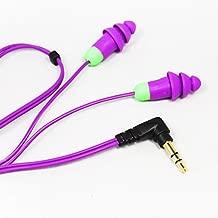 Plugfones Basic Earplug-Earbud Hybrid - Noise Reducing Earphones - Purple