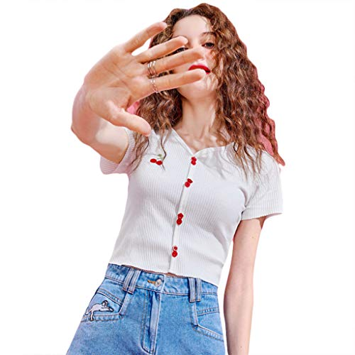 MYBOON Women Short Sleeve Ribbed V-Neck T-Shirt Cute Cherry Embroidery Buttons Crop Top - White