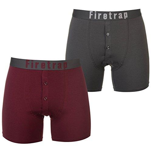 Firetrap Uomo Boxers Confezione da 2 Biancheria Intima Grigio / Wine Extra Large