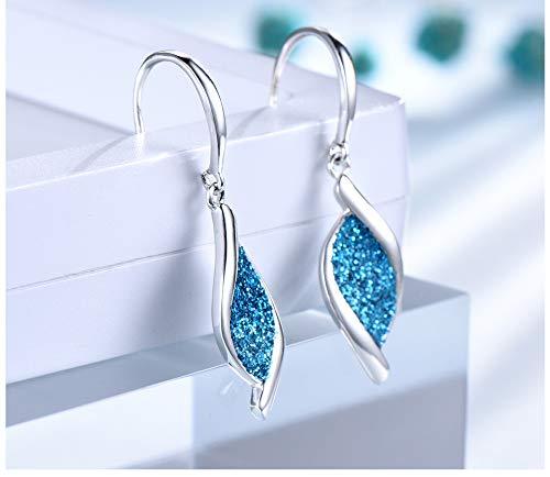 Sterling Silver Earrings Blue Color Glitter Spiraal Leaf Drop oorbellen voor vrouwen Partij Gift Korea mode-sieraden