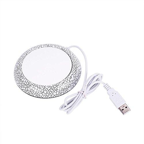 USB-Tassenwärmer mit Holzmaserung, für Zuhause, Büro, Schreibtisch, beheizter Kaffeebecher, Teetassenuntersetzer (weißes Porzellan)