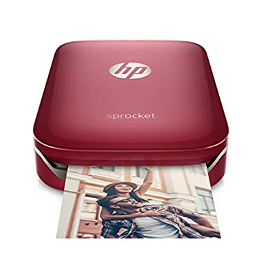 HP Sprocket Portable Photo Printer, Print Social Media Photos on 2x3  Sticky-Backed Paper - Red (Z3Z93A)