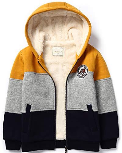 Bumeex Boys Sherpa Fleece Lined Jacket Warm Sweatshirt Hoodie,7-8 Years Dark Yellow